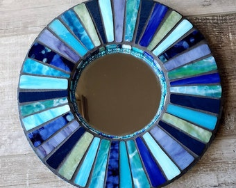 ocean colors Unique Wall Decor Bohemian Decor Wedding Gift OOAK MOSAIC MIRROR Stained Glass blue /& green Birthday Gift