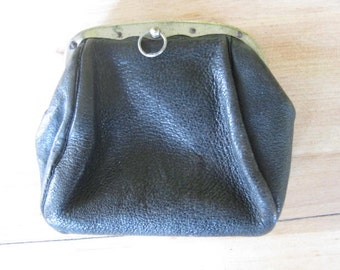 Beautiful vintage French black leather purse with another small purse on the inside.
