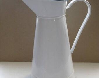 Vintage French large white enamel water pitcher.