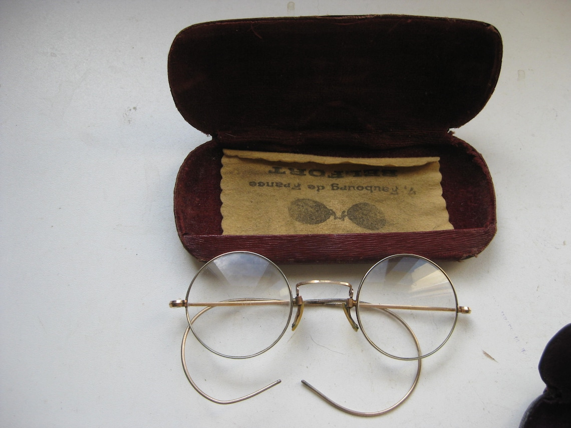 3 vintage French glasses in the original cases.