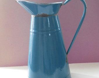 Vintage French large blue enamel water pitcher.