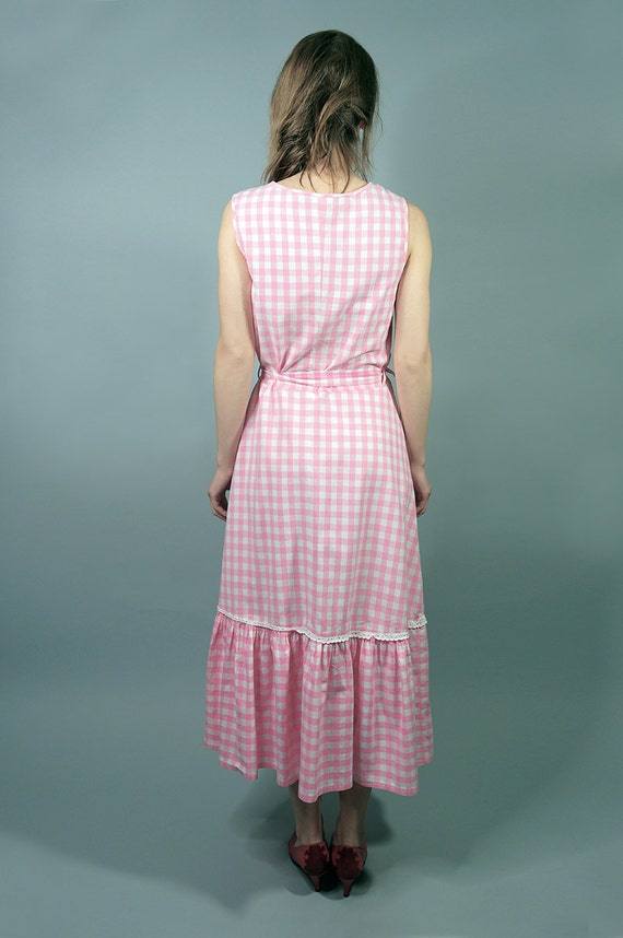 70s Dress.Vintage Pink Cotton Checkered Dress,Day… - image 3