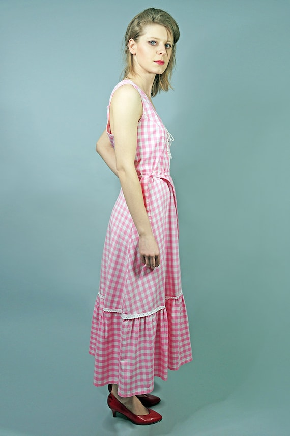 70s Dress.Vintage Pink Cotton Checkered Dress,Day… - image 2