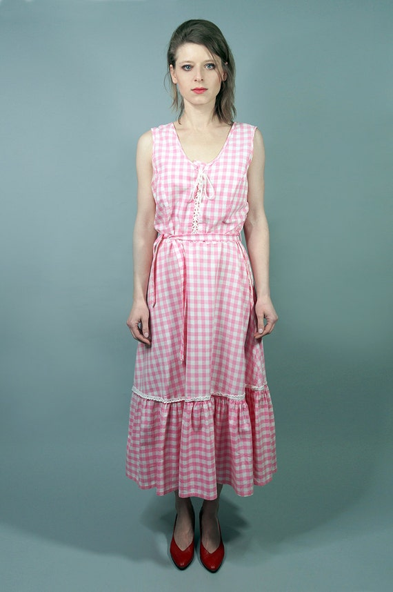 70s Dress.Vintage Pink Cotton Checkered Dress,Day
