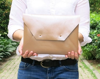 Beige Glossy Genuine Leather Envelope Clutch, Leather Clutch, Evening Clutch, Handmade Clutch, Leather Ipad Case, Bridesmaid Clutch LARGE