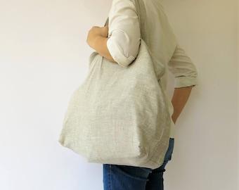 Linen Tote Shoulder Bag, Beach bag, Shopping Bag, Reusable bag, Eco Friendly Tote bag, Produce Bag, 100% Pure linen Bag in Natural