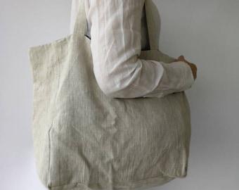 Linen Tote Shoulder Bag, Beach bag, Shopping Bag, Reusable bag, Eco Friendly Tote bag, Produce Bag, 100% Pure linen Bag - L SIZE