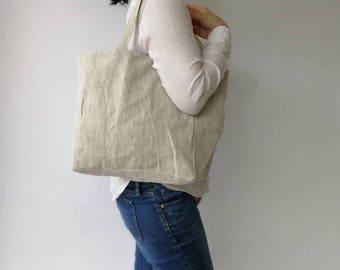Linen Tote Shoulder Bag, Beach bag, Shopping Bag, Reusable bag, Eco Friendly Tote bag, Produce Bag, 100% Pure linen Bag - M SIZE