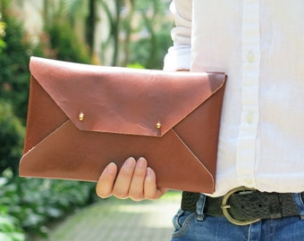 Brown Genuine Leather Envelope Clutch, Leather Clutch, Evening Clutch, Handmade Clutch, Leather Case, Bridesmaid Clutch MEDIUM
