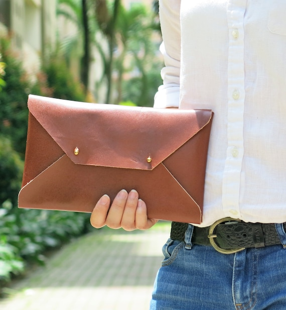 e88faa07f7bf Brown Genuine Leather Envelope Clutch Leather Clutch Evening