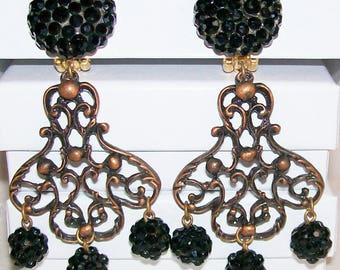 Chandelier earring clip on etsy designer signed james arpad black rhinestone chandelier earrings clip on vintage runway statement jewelry aloadofball Choice Image