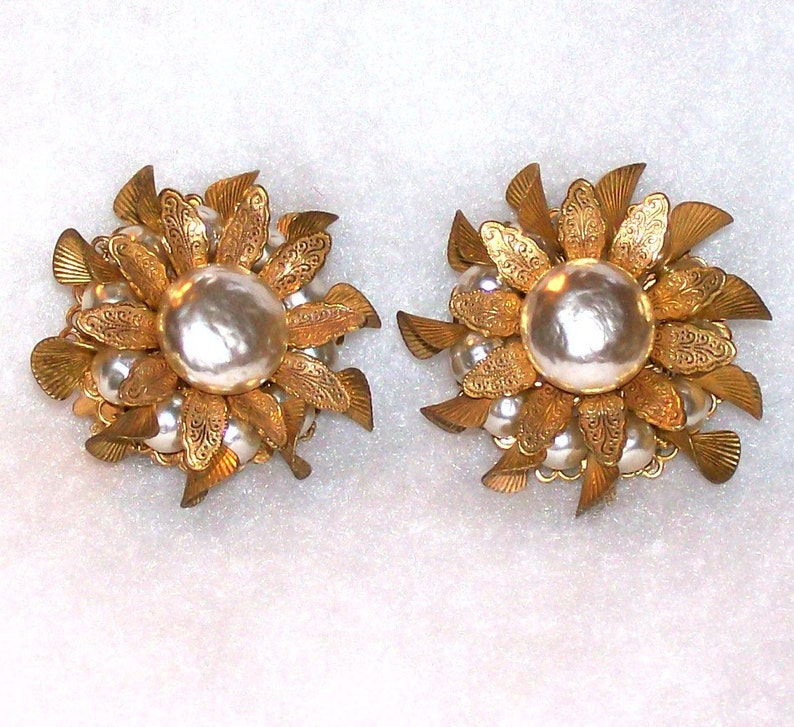 Vintage Miriam Haskell Signed Earrings Baroque Pearl and Russian Gold Tone Floral Layered Leaf and Pearl Design