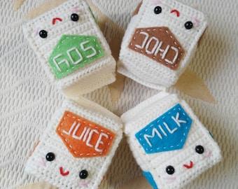 Amigurumi juice, soy milk, chocolate or milk carton, crochet plushie