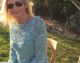 Emerald Green natural Lacy sweater