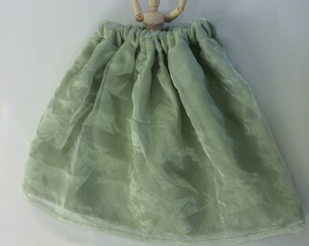 Little Girl's Tea Time Green Garden Skirt