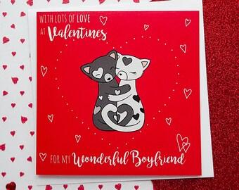 BOYFRIEND Valentines Card, Cute Cats Card   Valentine's Day Card, Boyfriend Valentine's Card, Cards for Boyfriend, Cute Boyfriend Card