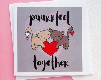 Cute Anniversary Card | Cute Cats Card, Girlfriend Card, Boyfriend Card, Wife Card, Husband Card | Love Cards, Romantic Card