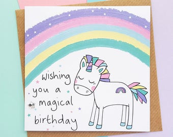 Rainbow Unicorn Birthday Card, Magical Unicorn Card, Cute Unicorn, Cute Birthday Card, Daughter Birthday Card, Sister Birthday Card