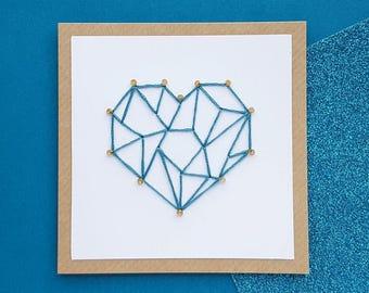 Handmade Geometric Heart Card   Romantic Anniversary Card, Birthday Card   Wife Card, Husband Card, Girlfriend Card, Boyfriend Card   LOVE