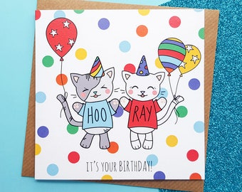 Cats Birthday Card Handmade | Cute Cats Birthday Card, Handmade Cat Birthday Card | Kawaii Birthday Card | Cards for Her, Cards for Him
