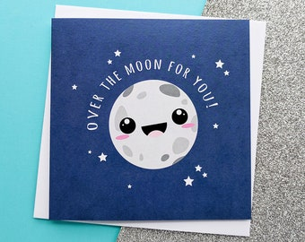 Over The Moon, Congratulation Card, New Job Card, So Happy For You, Success Card, Engagement Congrats, Wedding Congrats, Congrats Card