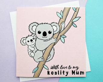 Mum Birthday Card, Koality Mum Card, Cute Mum Cards, Cards for Mum, Cuddling Koalas Card, Best Mum Card, Mummy Card, Koalas Mum Card