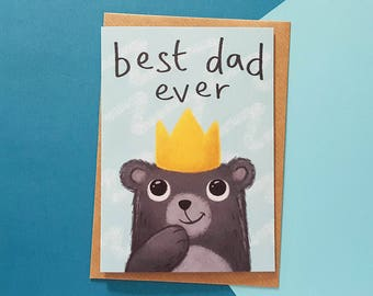 BEST DAD Card Fathers Day Dad Birthday Cute For Best Ever Cards Him Daddy Papa Bear