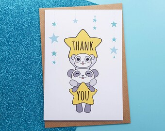 Thank You Card Cute Pandas Handmade | Kawaii Thank You Card, Cute Panda Card, Kawaii Panda Card, Cute Thank You Card, Star Thank You Card