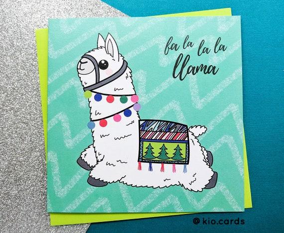 Llama Christmas.Llama Christmas Cute Llama Christmas Llama Card Fa La La La Llama Llama Lover Cute Christmas Card Fun Christmas Card Llama Gift