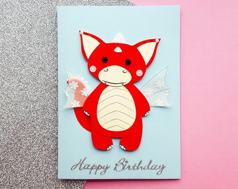 Handmade Dragon Birthday Card | Personalised | Kawaii Dragon Card, Cute Dragon Card, Kawaii Birthday | Card for Her, Card for Friends