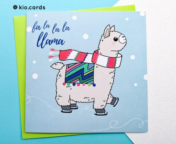 Llama Christmas.Fa La La Llama Christmas Llama Funny Llama Llama Card Cute Llama Childrens Christmas Card Fun Christmas Card Llama Christmas Card