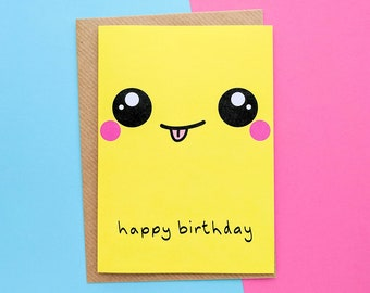 Kawaii Face, Smiley Face Birthday, Kawaii Birthday Card, Fun Birthday Card, Cute Birthday Card, Kawaii Birthday Gift, Kawaii Card