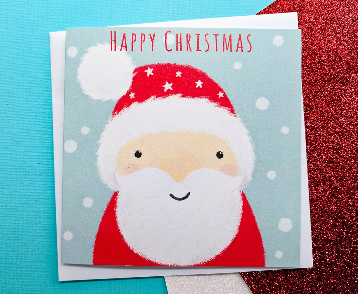 Santa Christmas Card Hand Drawn Handmade Christmas Cards | Etsy