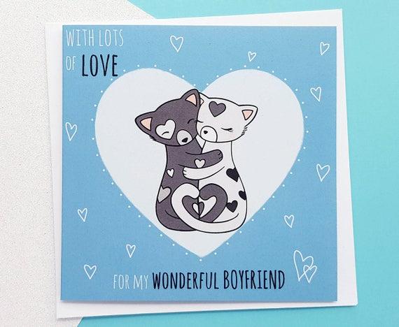 Romantic Boyfriend Card Boyfriend Birthday Card Cute Etsy