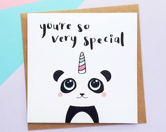 Pandicorn, Panda Birthday Card, Panda Card, Cute Birthday Card, Panda Gift, Kawaii Panda, Pandacorn, Daughter Card, Sister Card, Cute Panda