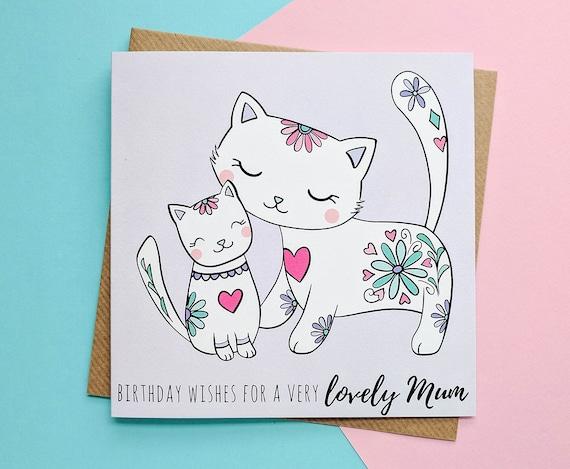 Mum Birthday Card Cats Mummy