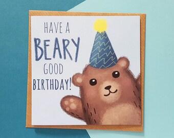 Bear Birthday Card | Dad Birthday Card, Husband Birthday Card, Son Birthday Card, Brother Birthday Card | Cards For Him