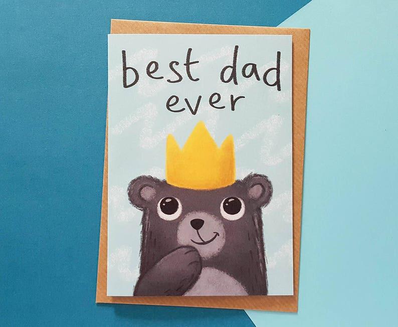 BEST DAD Card Fathers Day Dad Birthday Cute