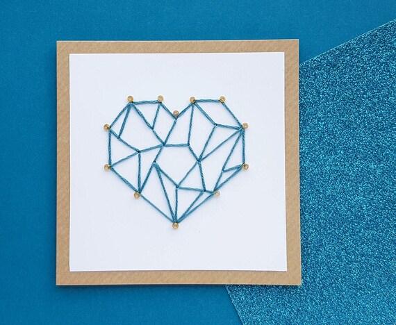 Handmade Geometric Heart Card Romantic Anniversary