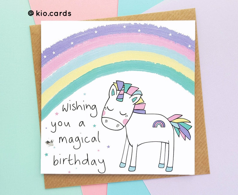Rainbow Unicorn Birthday Card Magical Cute