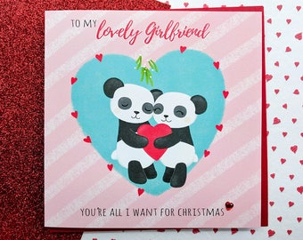 GIRLFRIEND Christmas Card - Cute Pandas Card | Girlfriend Cards, Christmas Card for Girlfriend | Romantic Christmas Card, Cards For Her