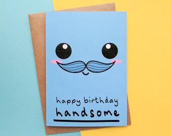 Handsome Boyfriend, Birthday Card Boyfriend, Cute Boyfriend Card, Kawaii Face, Boyfriend Birthday Card, Boyfriend Gifts, Boyfriend Card