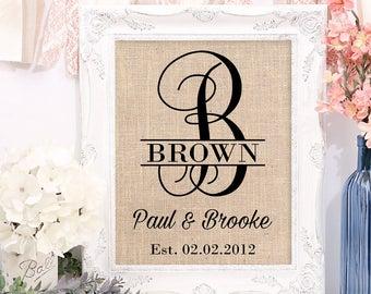 Bridal Shower Gift on Burlap, Burlap Art Print for new couple, Bride and Groom Bridal Shower Gift, Wedding Shower Gift for Bride