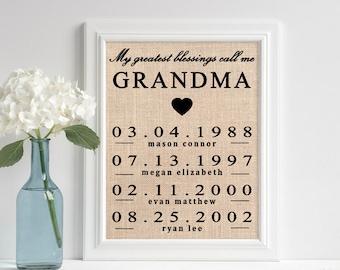 Grandma Gift | Burlap Wall Art | Grandchildren Birth Dates | Burlap Print | My Greatest Blessings Call Me Grandma