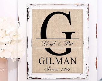 50th Wedding Anniversary | 50th Anniversary Gifts | 50 Years of Marriage | Burlap Wall Art