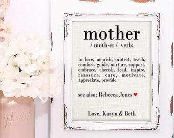 Personalized Gift Ideas for Mom, Gifts for Her, Definition of a Mother, Gift for Mom, Burlap Art Print, Personalized Gifts for Her
