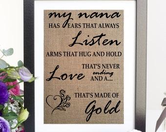 Quote for Nana or Grandma, Grandma birthday gift idea, Mother's Day, Christmas Gift, Any Custom Name