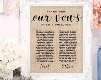 Wedding Vow Print, Cotton or Burlap, Our Vows, Marriage Vow Gifts