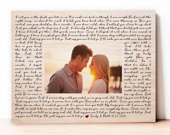 Lyrics and Photo Gift, Photo Lyrics, Photo on Wood Wall Art, 5th Anniversary Gift, Wedding Photo on Wood, Wooden Lyrics, Wooden Anniversary