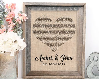 Wedding Gift One Year Anniversary Gift First Dance Love Song Lyrics Personalized Wedding 1st Anniversary Gifts Christmas Wife Gift Idea : one year anniversary gift - princetonregatta.org